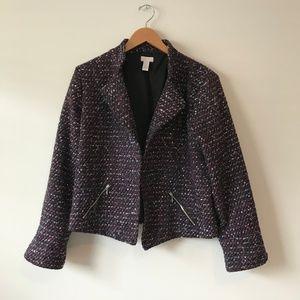 Chico's Metallic Tweed Texture Blazer Jacket